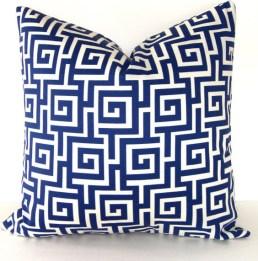 Greek Key cushion with down fill