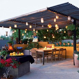Pergolas add privacy and a place to hang lights