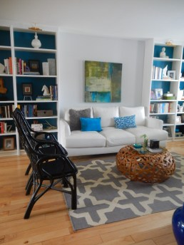 Living room and library combo