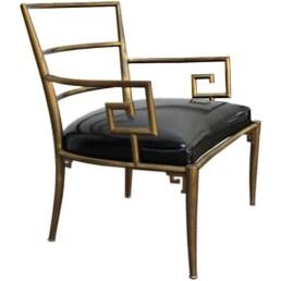 greek key brass chair