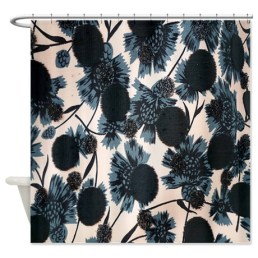 Blue and white thistle pattern shower curtain