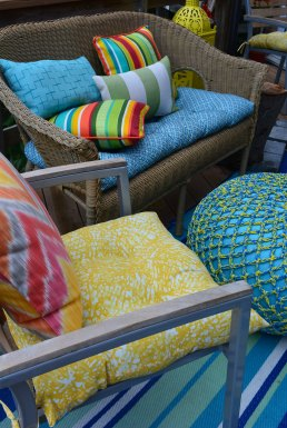 Add color outdoor cushions