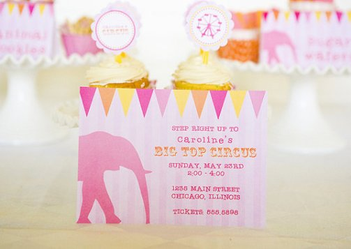 Girly CIRCUS Party Set, Invitations, Treat Bag Toppers, Party Circles Set 12