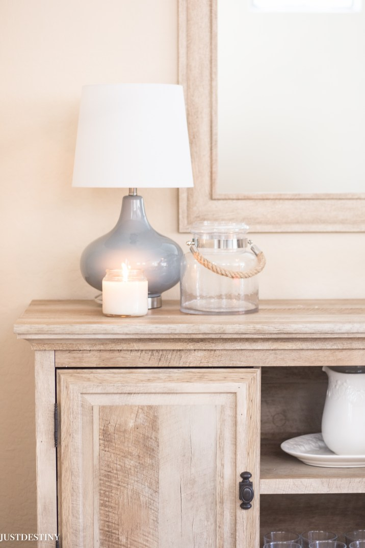 Gray Ceramic Lamp from Better Homes and Garden Walmart. It's sitting on the Crossmill Buffet that's also at Walmart! Find more on Just Destiny Mag
