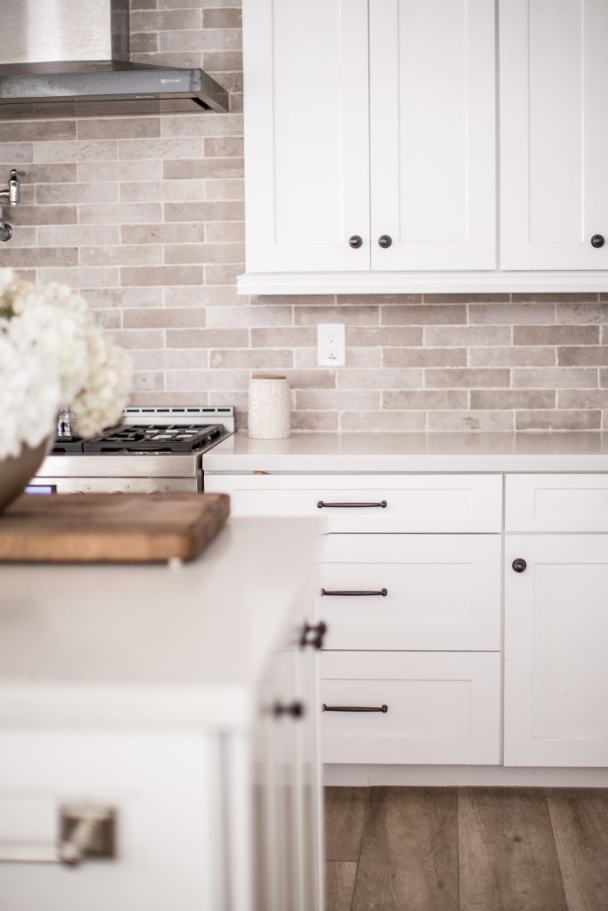 kitchen pulls black island with seating hardware update just destiny here s a shot of the polished nickel knobs and from martha stewart farmhouse line you can see that this area is slightly off so it