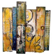 """Bravely Done - collage, oil and encaustic on wood, 36 x 32"""" - SOLD"""