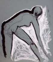 "figure study, oil stick on toned paper, 16 x 15"""