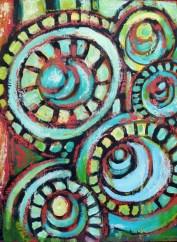 "Aqua Circles, oil on panel, 16 x 12"""