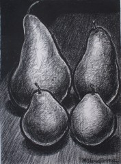 """The Four of Us, charcoal on paper, 30 x 22"""""""