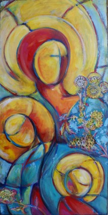 """Looking Forward, acrylic and collage on canvas, 36 x 18"""""""