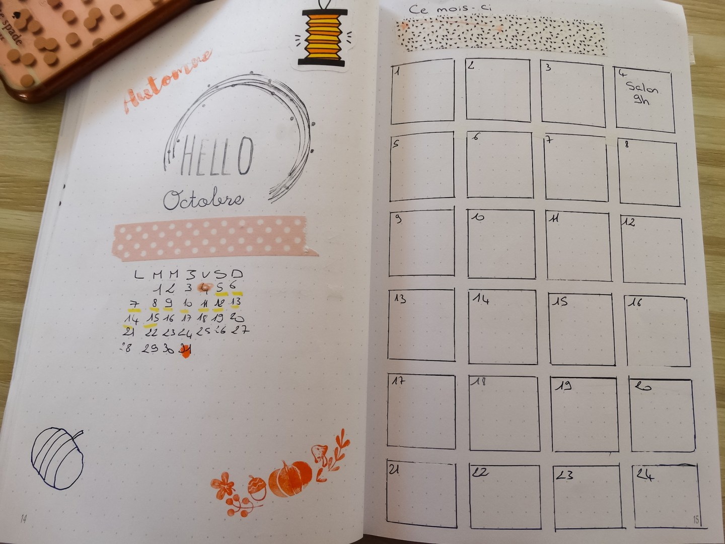 Bullet Journal : setup d'Octobre