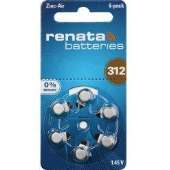 Renata 312 Zinc Air Hearing Aid Batteries 1.45V