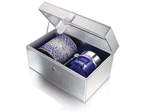 A stunning and fiery crystal case cradles La Prairie most concentrated and richly opulent Skin Caviar Luxe Cream