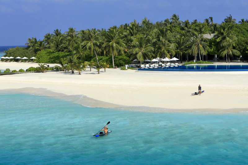 Velassaru Maldives Luxury Travel beach aerial