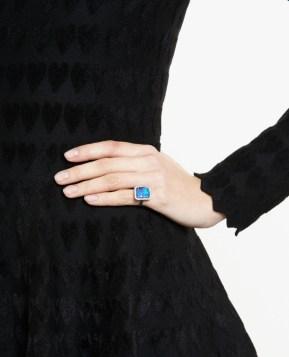 18k white gold ring from Kimberly McDonald black dress