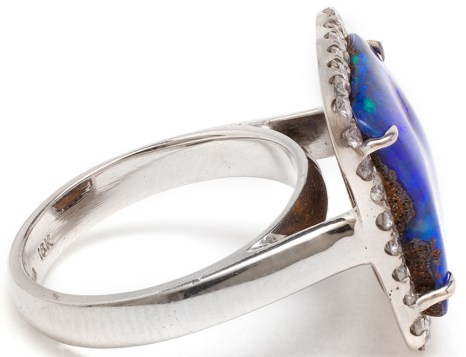 18k White Gold, Boulder Opal and Diamond Ring