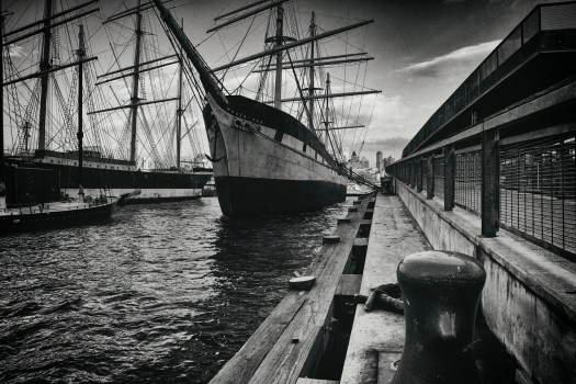 These old ships are docked at the South Street Seaport in lower Manhattan. There are not too many places you can see these but this is one of them. It reminded me of Boston harbor only this is New York. My guess is that a hundred years ago the scene wasn't much different.  My how times have changed, ...except for here.