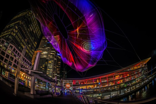 I just got back from an amazing trip to Vancouver. There's nothing better than walking around Vancouver at night unless perhaps you're walking around during a TED conference. This is Janet Echelman's sculpture which was lit up for thew conference last week. It's a 745-foot wide installation made of netting and suspends between the roof of the Fairmont Waterfront Hotel and the Vancouver Convention Centre. You could actually control the lighting with your cellphone thanks to a collaboration Aaron Koblin of Google Creative Lab's.