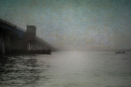 This is the draw bridge to Longboat Key on a foggy morning in Manatee County Florida. As I understand it, we get fog when the air temperature rises or falls relative to the water. So it seems we get that in Florida a few times in winter. I look forward to it not only for photography, but because I get to wear warm clothes. During these time I think visitors look at me kind of funny, bundled up in a jacket when it's only fifty or sixty degrees. But I digress.