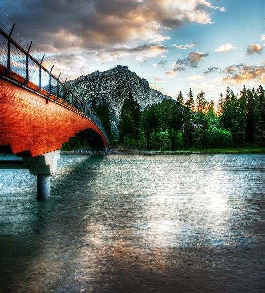 Last summer I went to Banff in Alberta and captured this walking bridge over the Bow River. Recently I got back from New Zealand. Now I'm conflicted as to which one I liked best. That's impossible to answer so let's just fuhgeddaboudit. But if there was another place on earth as beautiful and either of those I'm not sure what I'd do. That's the problem with being a photographer. Good problem to have I suppose. And I have a sneaking suspicion there could be other surprises in store, ...like maybe Iceland? One day. Nothing wrong with dreaming.