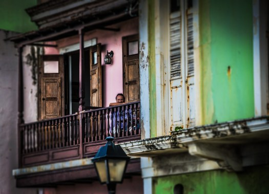 When I was in the old town section of San Juan Puerto Rico last fall I became enamored with the charm of the place. By charm I mean the sense of community and character. I think the verandas play an important role in all that. Folks like to hang out on their verandas or the streets below talking, playing cards or just watching other people walk by. I have a veranda out the back of my house were I like to go to relax sometimes, so I guess I relate to these older, more storied versions. I imagine these have been here for a hundred years, but I can't imagine all the scenes that have transpired on or below them. Fun to think about nonetheless.