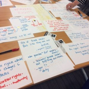 handwritten sheets of paper on a table with ideas of issues to tackle in the NE