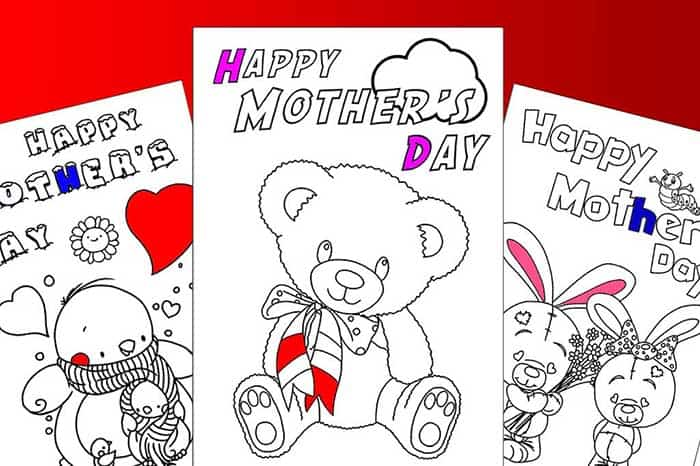 mothers day colouring cards
