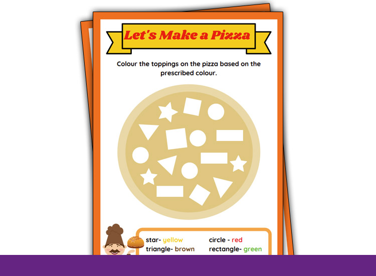 shape tracing worksheets pizza