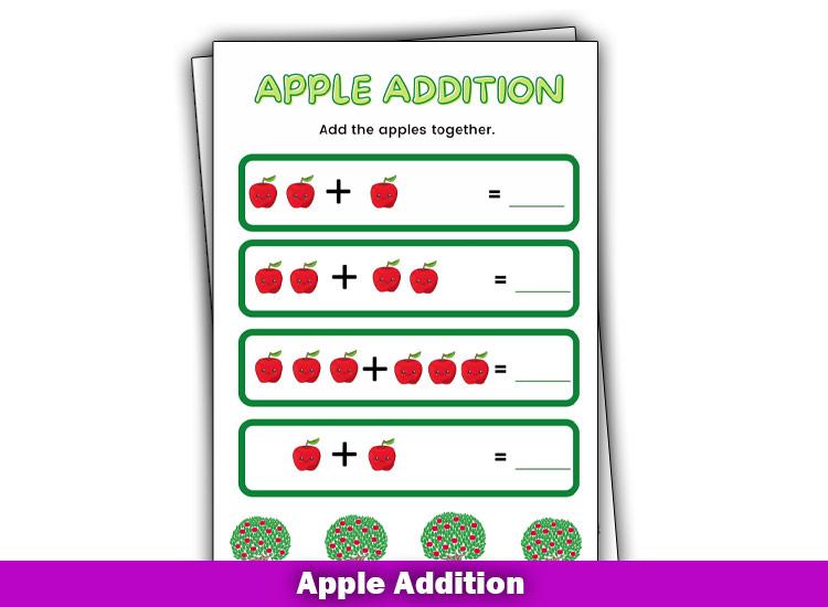 Free Printable Addition Chart PDF Using apples