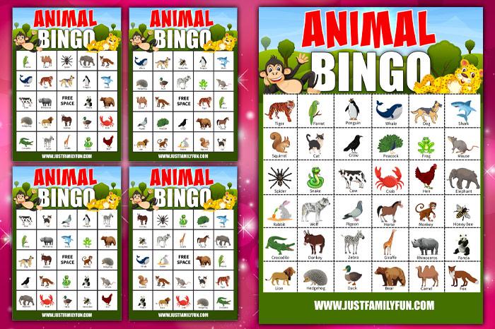 animal bingo printable cards