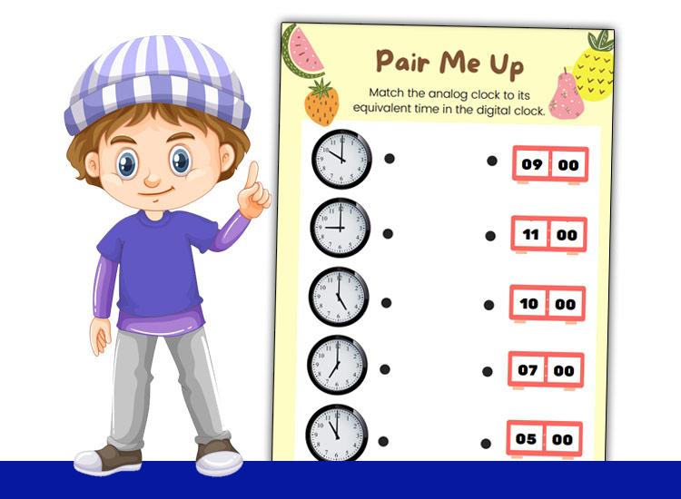 kids learning time worksheets