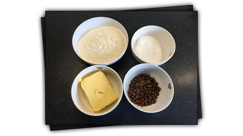 Easy Chocolate Chip Shortbread Recipe ingredients