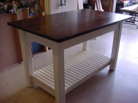 Kitchen Island Table with Basket Shelf