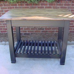 Kitchen Island Rustic Complete Cabinets  34 X 48 Top With Black Base