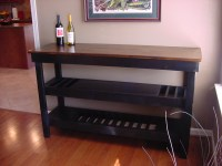 Dark Stained Maple Top Wine Bar with Dual Wine Storage ...