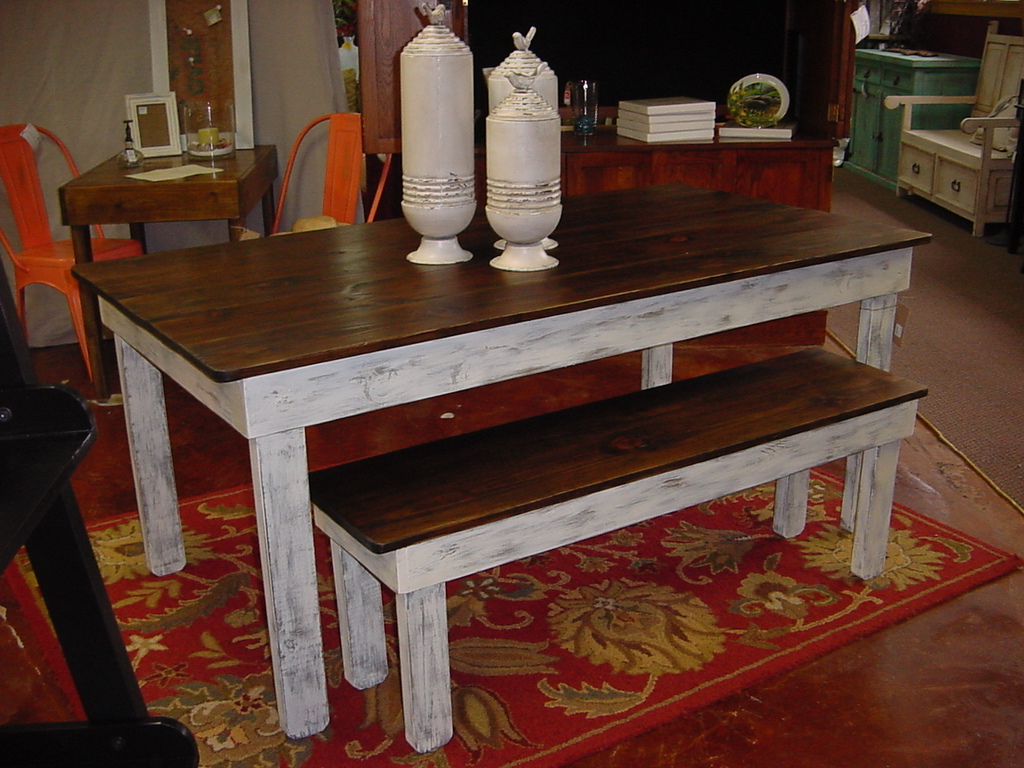 Rustic Country Farmhouse Table and Bench  Just Fine Tables