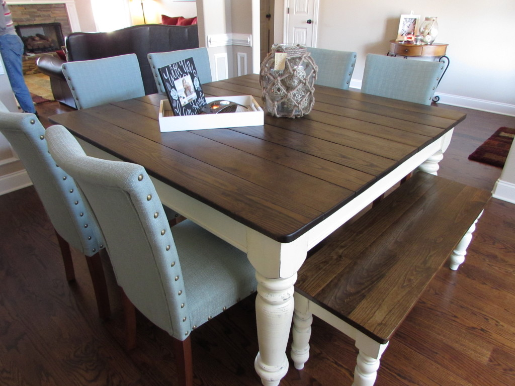 Farm Chairs Square Farmhouse Table And Matching Bench Just Fine Tables