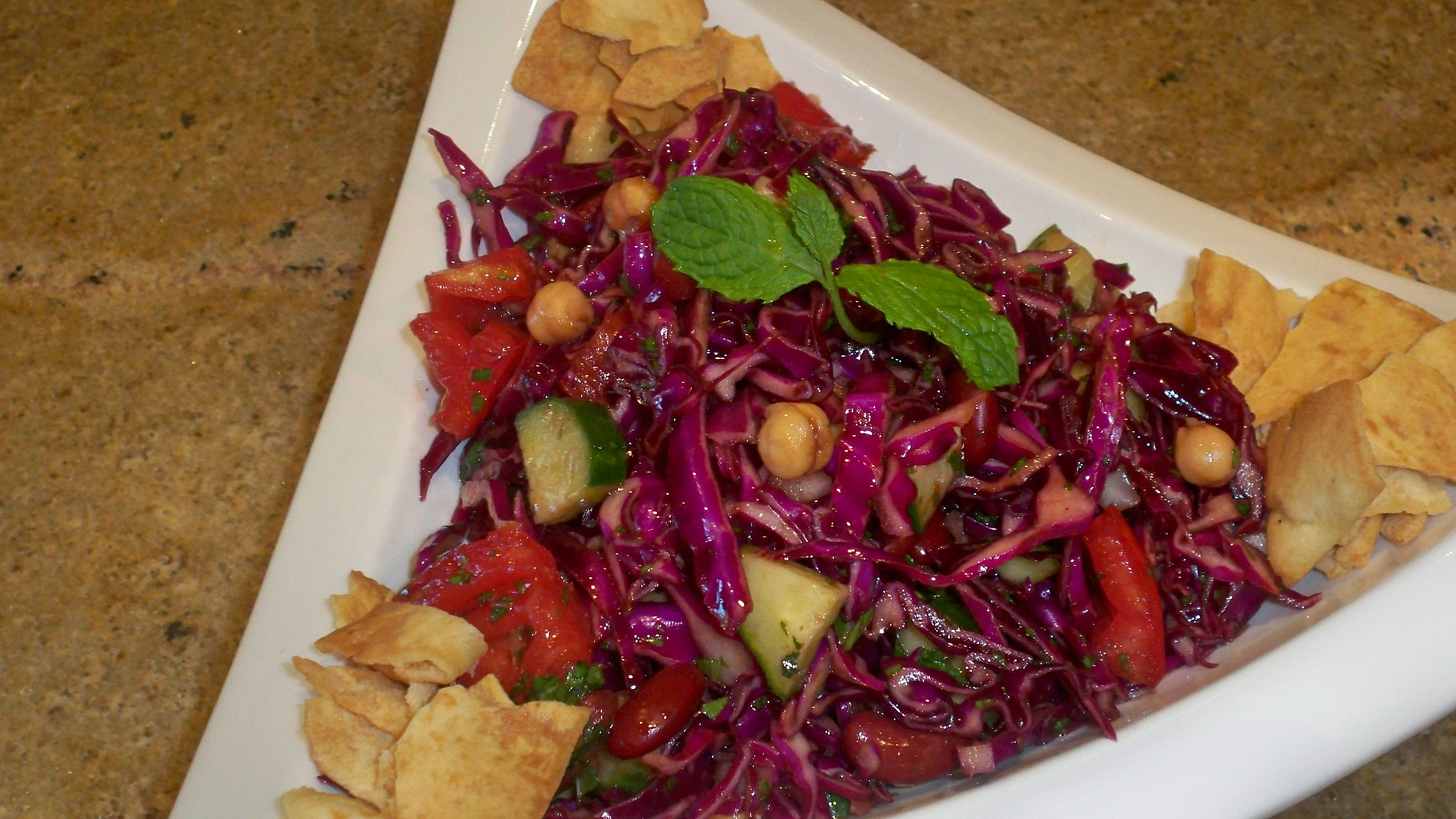 Chopped Red Cabbage Salad with Pita Chips