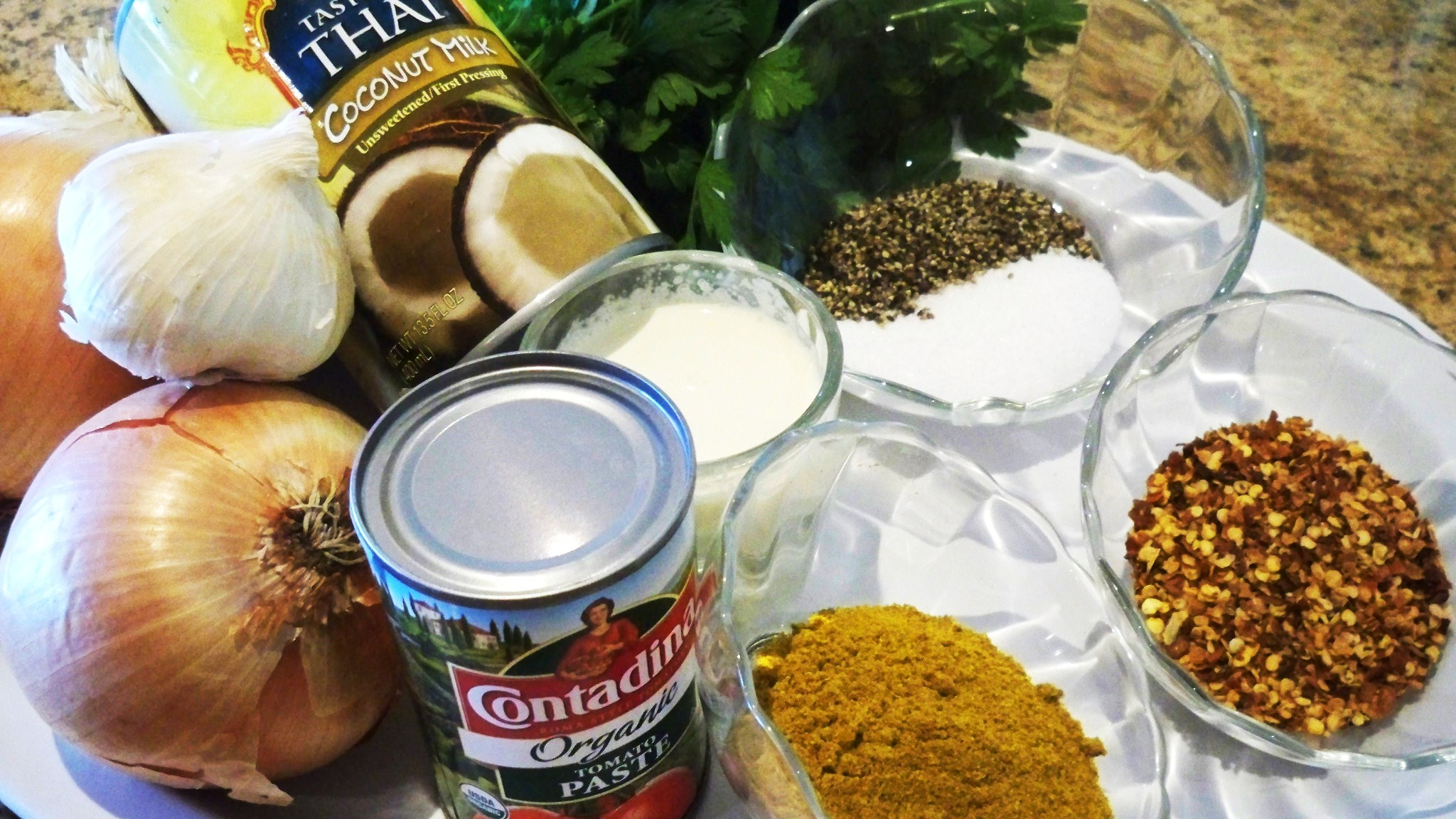 Red Coconut Curry Ingredients