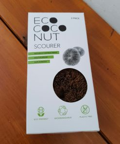 The coconut scouring pads in its box from the plastic free cleaning range at Just Gaia Halifax, UK