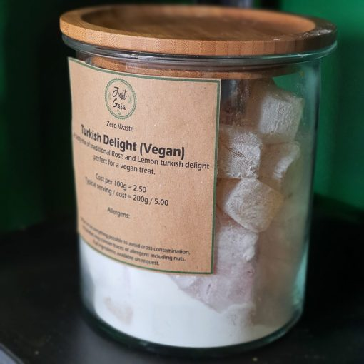 Turkish delight jar in the plastic free snacks and treats section Just Gaia zero waste grocery in Halifax, West Yorkshire