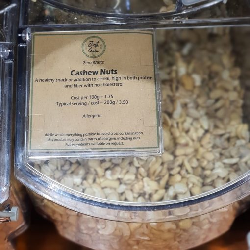 Cashew nuts dispenser in the plastic free snacks and treats section Just Gaia zero waste grocery in Halifax, West Yorkshire