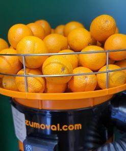 Freshly squeezed orange juice orange juicer in the plastic free snacks and treats section Just Gaia zero waste grocery in Halifax, West Yorkshire