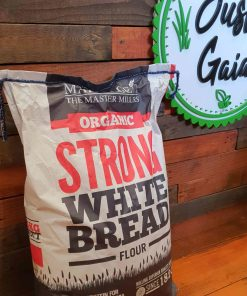 Organic strong bread flour on display at Just Gaia, showcasing White flour