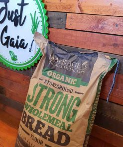 Organic strong bread flour on display at Just Gaia, showcasing wholemeal flour