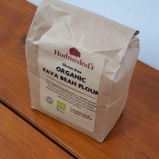 Gluten free fava bean flour (bread flour) on display at Just Gaia, in 500g bag