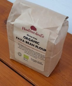 Gluten free fava bean flour (bread flour) on display at Just Gaia, in 500g bag