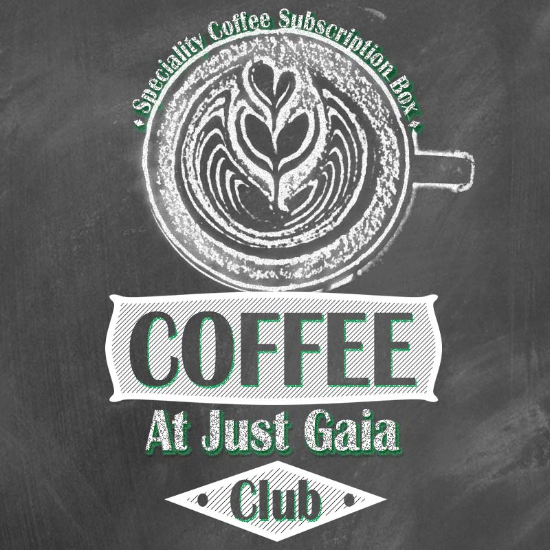 Coffee at Just Gaia Club square image - Speciality coffee subscription box logo