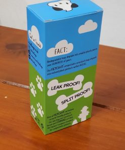 Fetch-It compostable poo bags box, rear facing, at Just Gaia Halifax, UK