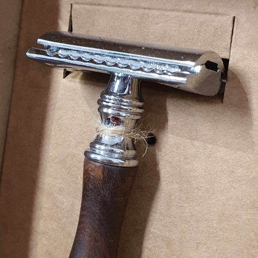 Plastic free safety razor shaving kit: razor head in the box at Just Gaia, Halifax UK